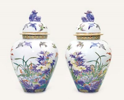 A pair of Fukagawa vases and c