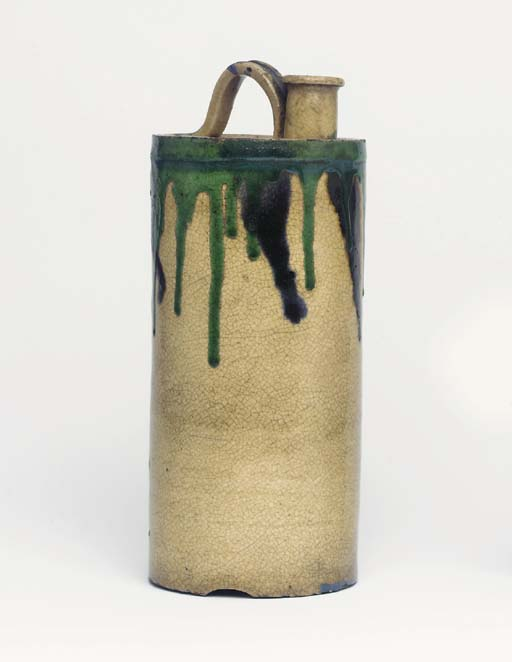 A Kyo-Yaki Bottle-Vase and an