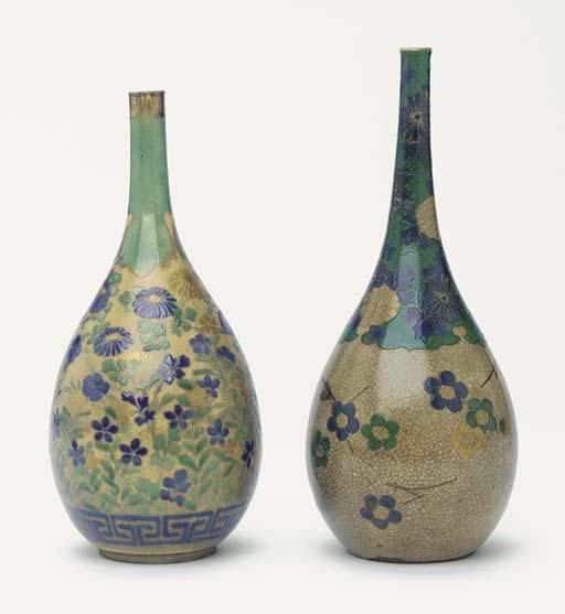 Two Kyo-Yaki Sake-Flasks and a