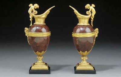 A PAIR OF FRENCH ORMOLU AND RE
