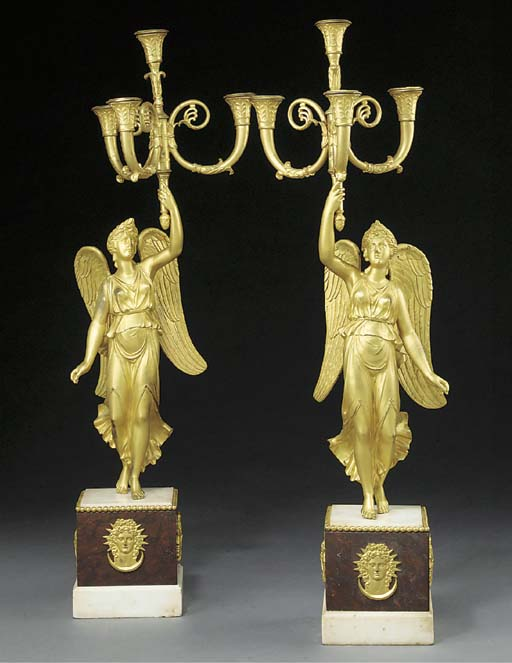 A PAIR OF FRENCH ORMOLU, ROSSO