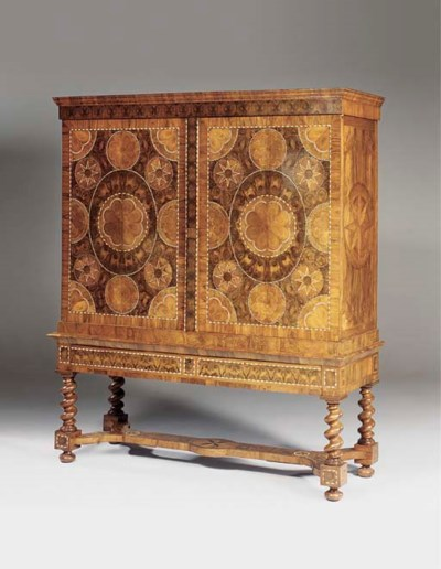 A DUTCH IVORY AND EBONY-INLAID