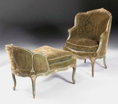 A LOUIS XV GREEN AND WHITE-PAI