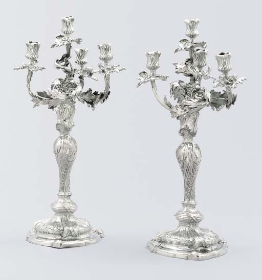 A pair of Spanish silver cande