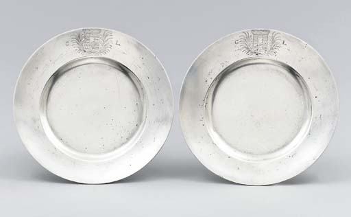 A pair of German silver dishes