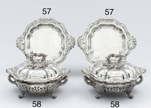 A pair of William IV silver se