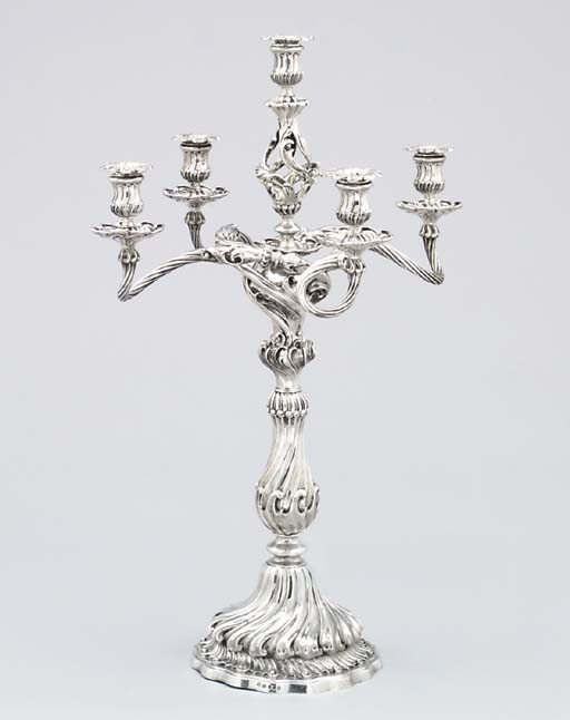 A Victorian silver five-light