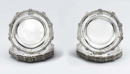 Twelve George IV silver dinner