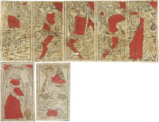 RENAISSANCE PLAYING CARDS -- An uncut strip of five Italian-suited cards from a regular pack, late 15th or early 16th century (93 x 240mm), printed in the xylographic manner, with stencil colouring in brick-red, to an obsolete design. From the left, the cards are: the Cavalier of Cups, King of Swords, King of Batons, King of Coins and Queen of Cups.
