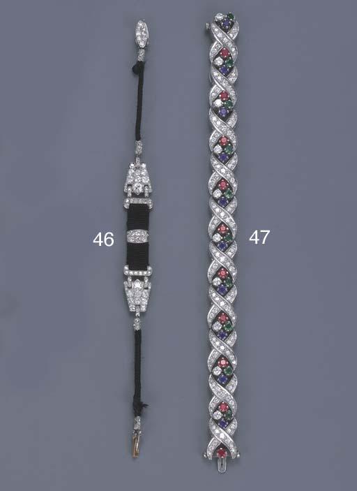 A DIAMOND AND GEM-SET BRACELET