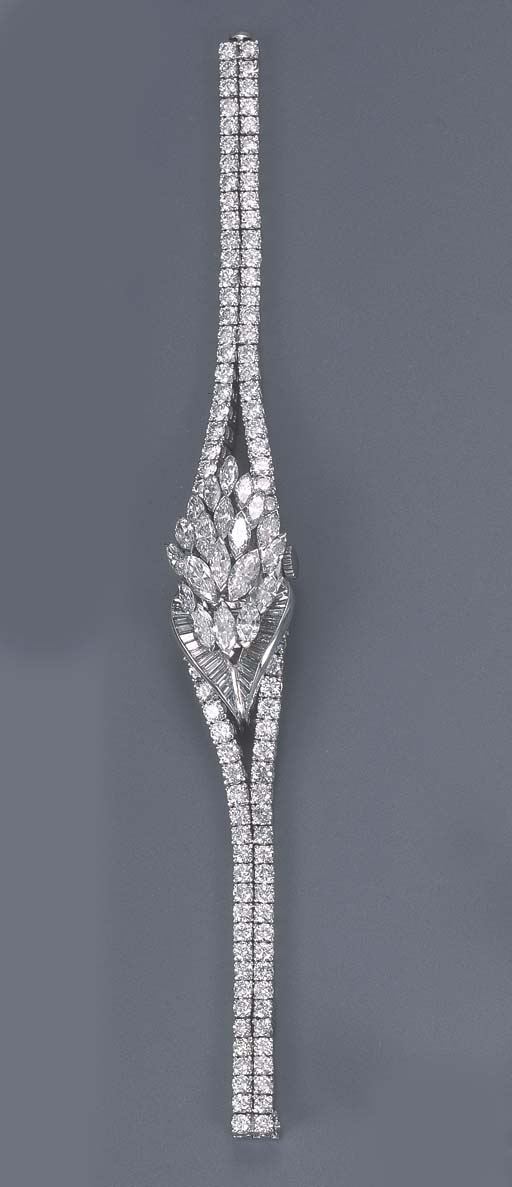 A DIAMOND BRACELET WATCH, BY G