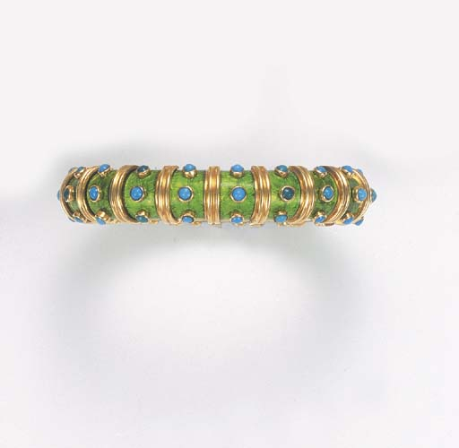 AN ENAMEL AND TURQUOISE BANGLE