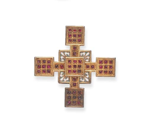 A RUBY, ENAMEL AND GOLD CROSS,