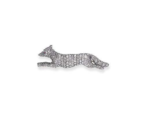 AN ANTIQUE DIAMOND FOX BROOCH