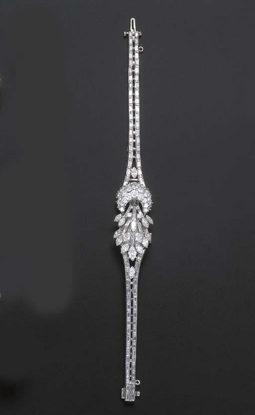 A DIAMOND BRACELET WATCH, BY L