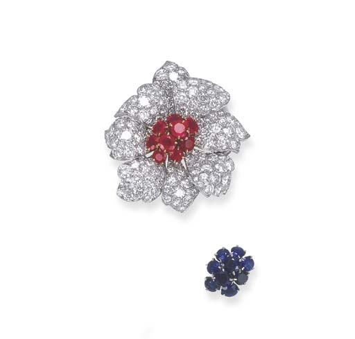 A GEM-SET AND DIAMOND FLORAL C
