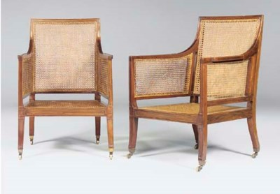 A PAIR OF MAHOGANY CANED BERGE