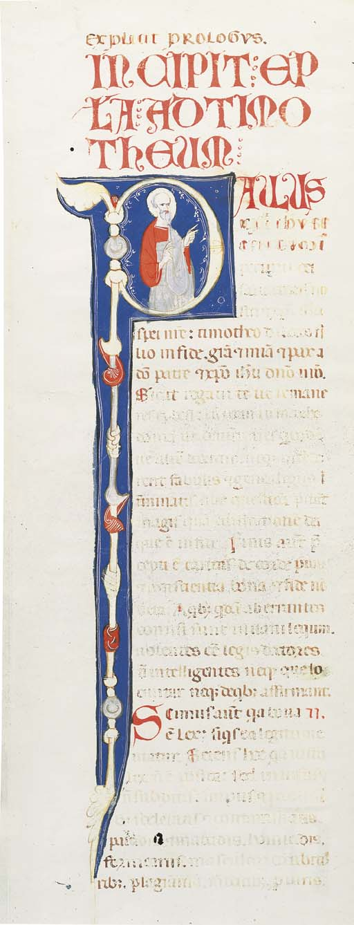 SAINT PAUL PREACHING, in an initial P on the verso of a half-leaf from a Bible, ILLUMINATED MANUSCRIPT ON VELLUM