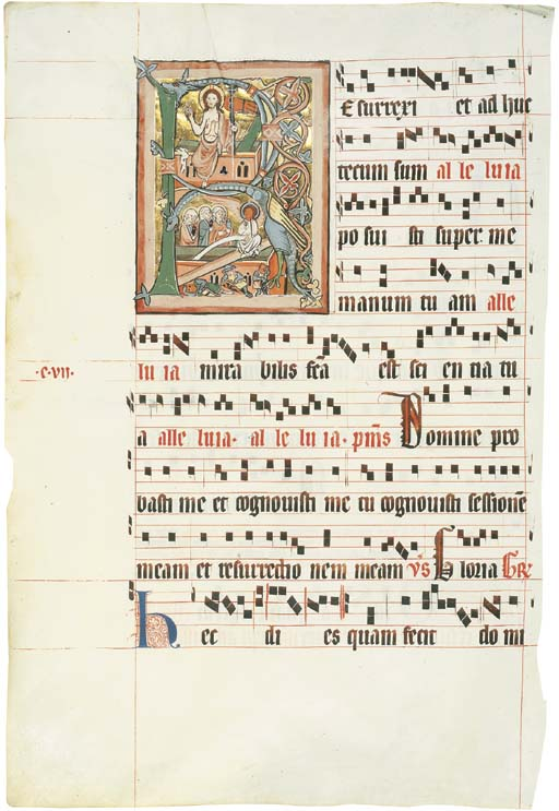 THE RESURRECTION AND THE THREE MARIES AT THE TOMB, in an initial R on the verso of a leaf from a Gradual, in Latin, ILLUMINATED MANUSCRIPT ON VELLUM