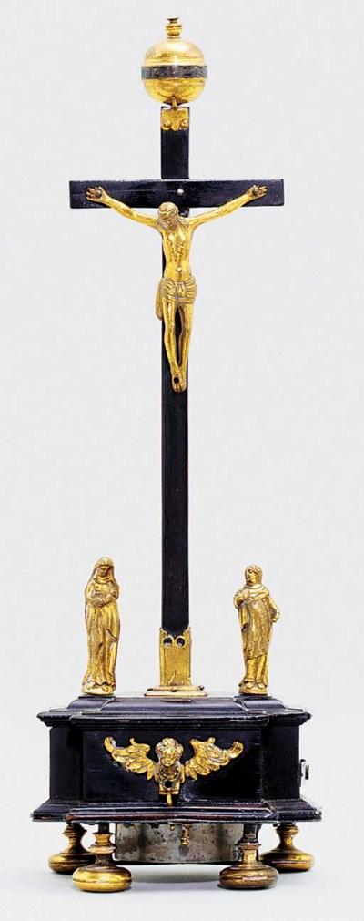 A German ebony and gilt-metal