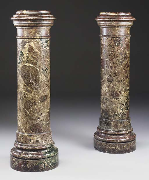 A PAIR OF RED MARBLE COLUMNS