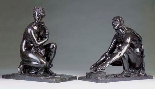 A PAIR OF BRONZE FIGURES DEPIC