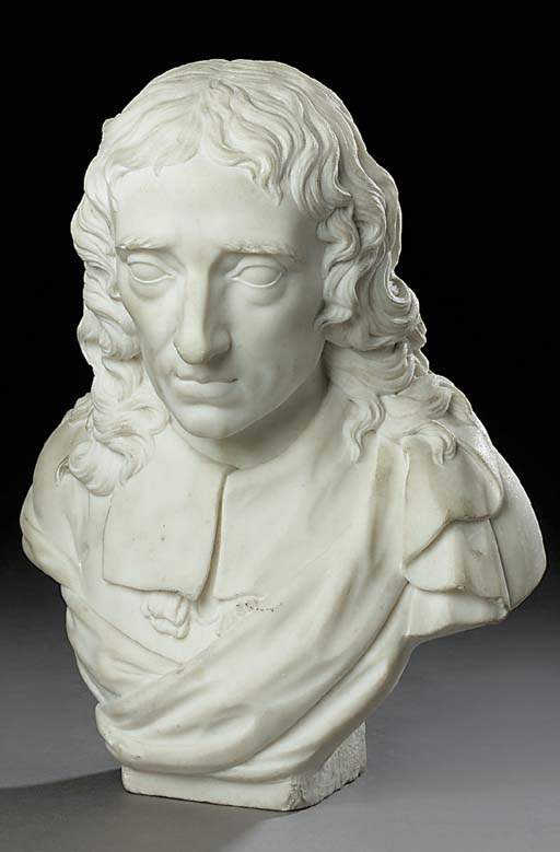 A CARVED MARBLE BUST OF MILTON