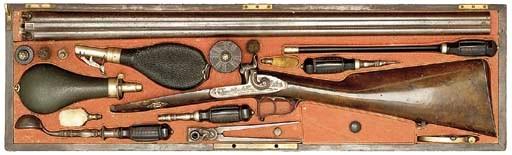 A CASED 14-BORE BELGIAN D.B. P