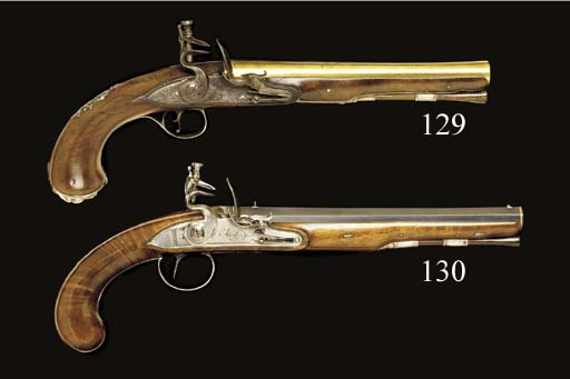 A PAIR OF 25-BORE FLINTLOCK DU