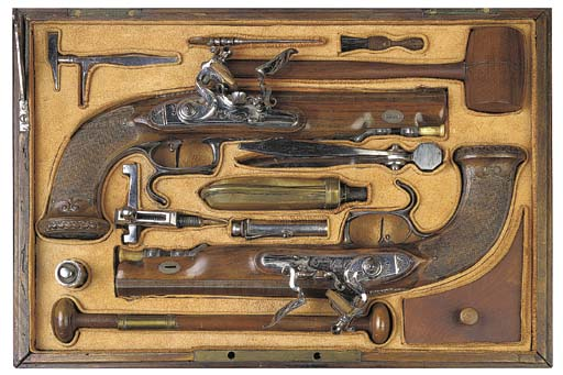 A CASED PAIR OF 38-BORE SILVER