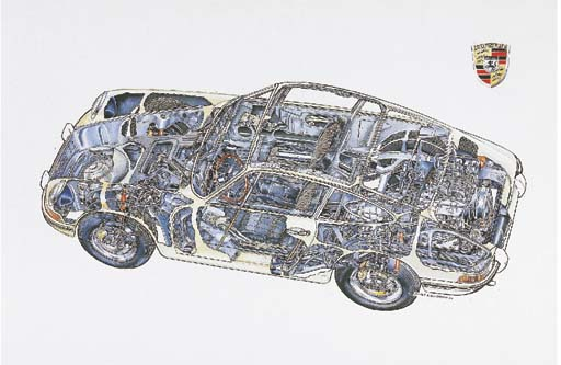 Porsche 911; complete cutaway, full-colour; signed and dated 1994. 21x31ins (56x82cm)