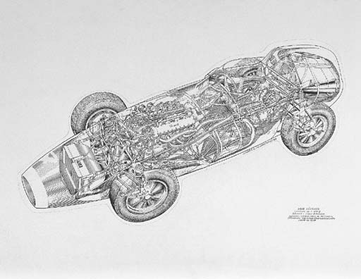 Vanwall 2.5-litre 1958 Grand Prix; chassis no. VW5 Tony Brooks' Spa-winning car; titled, captioned detailing race success; signed and dated 1993. 21x31ins (56x82cm)