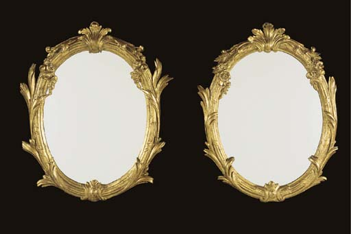A MATCHED PAIR OF LATE LOUIS XV GILTWOOD MIRRORS
