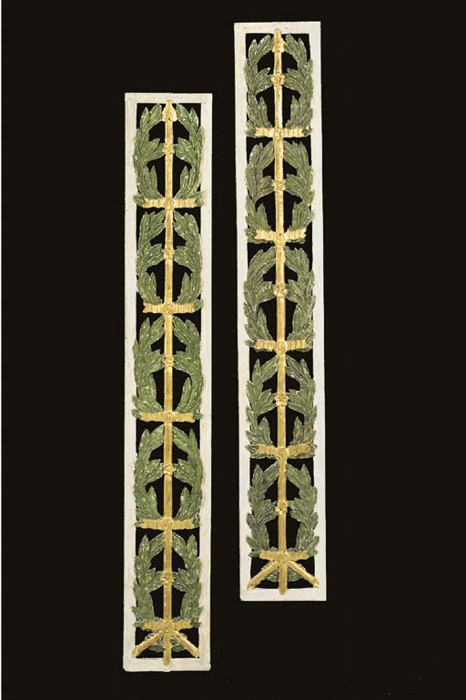 A PAIR OF FRENCH PARCEL-GILT, GREEN AND WHITE-PAINTED WINDOW PANELS