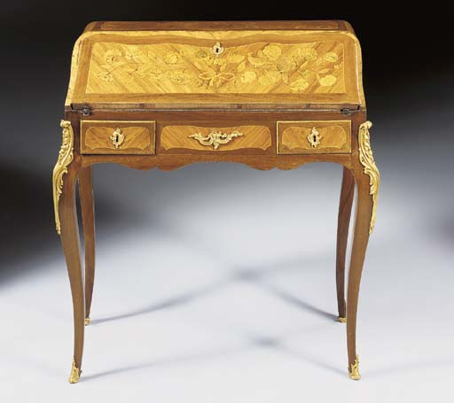 A LOUIS XV ORMOLU-MOUNTED TULIPWOOD AND MARQUETRY BUREAU DE DAME