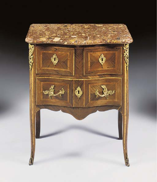 A LOUIS XV ORMOLU-MOUNTED ROSEWOOD AND BOIS SATINE PETITE COMMODE