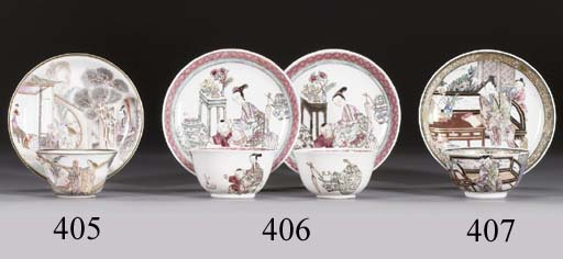 A FAMILLE ROSE 'EROTIC' TEABOWL AND SAUCER