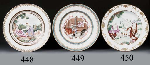 A FAMILLE ROSE MEISSEN-STYLE 'EUROPEAN-SUBJECT' PLATE