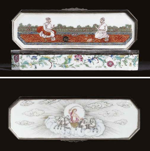 A RARE SILVER-MOUNTED FAMILLE ROSE INDIAN-SUBJECT BOX AND COVER