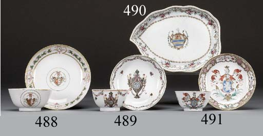 A FAMILLE ROSE ARMORIAL TEABOWL AND SAUCER FOR THE PORTUGUESE MARKET