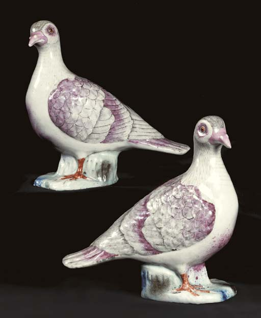 A RARE PAIR OF FAMILLE ROSE DOVES