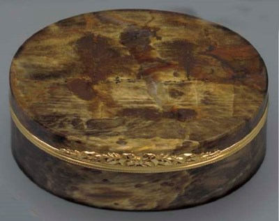 A LOUIS XV GOLD-MOUNTED FOSSIL