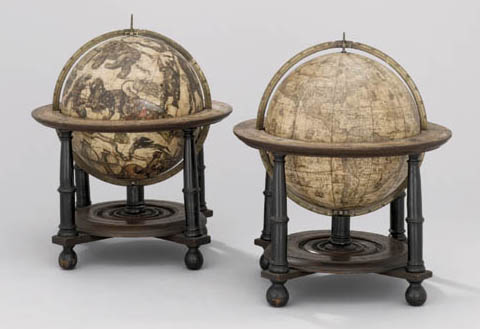 BLAEU, Willem Janszoun (1571-1638) A pair of table globes, terrestrial and celestial. Amsterdam: 1602 [but after 1621].