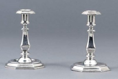 Two similar German silver cand