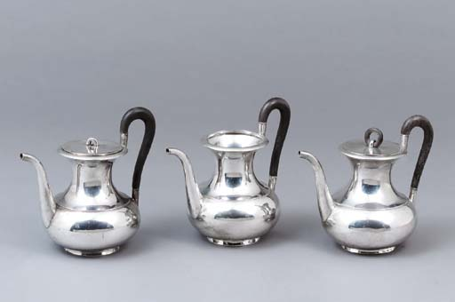 Three German silver coffee-pot