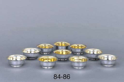 A set of four German silver sa