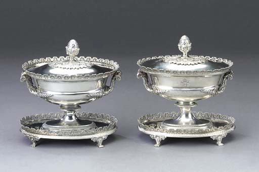 A pair of German silver sauce-