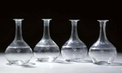 Four German glass engraved mon