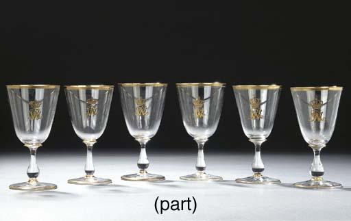 Eight German gilt monogrammed