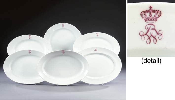 Five German porcelain monogram